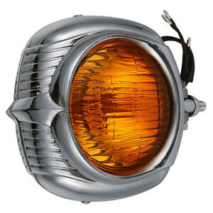4 Headlight Clear orange Lens Electroline Bronze For Harley Dyna Sportster