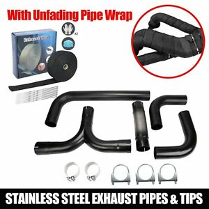 For Ford Universal 5 bk Turbo Dual Smoker Diesel Exhaust Stack T Pipe System Kit