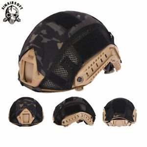 Tactical Helmet Cover wmesh for FAST Helmet Camo Hunting Airsoft Headwear MCBK
