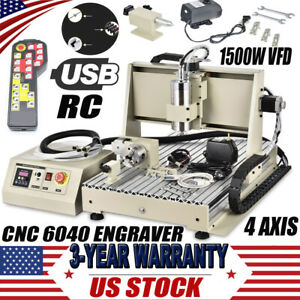 Usb 4 Axis Cnc 6040t Router 3d Engraver Engraving Milling Machine 1500w Remote