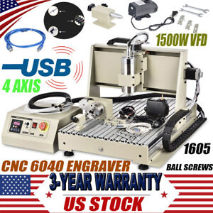Usb 4axis 6040 Cnc Router 1500w Vfd Engraver Milling Machine Engraving Drilling