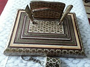 Persian Handcrafted Wooden Inlaid Khatam Marquetry Pen Letter Holder