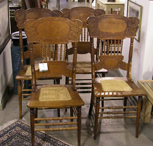 Antique Golden Oak Pressed Back Chairs Cane Seats