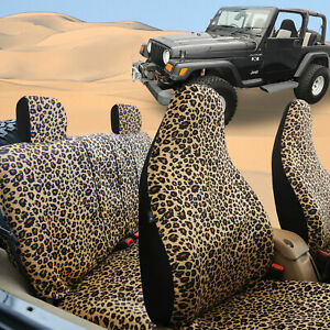 Leopard Highback Car Seat Covers For Auto Sedan Suv Van Brown