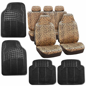 Car Seat Covers Brown Leopard Velour With Rubber Floor Mat Set