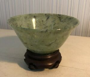 Antique Vintage Chinese Spinach Green Nephrite Jade 4 Bowl On Wooden Stand