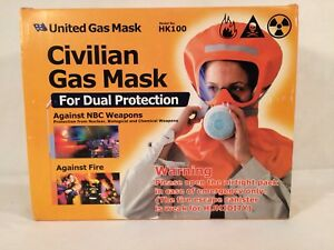 Civilian Gas Mask Nbc Fire Dual Protection United Model hk100 Home Prepping