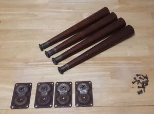 Set Of 4 Mid Century Modern 14 Tapered Table Legs W Mounting Brackets