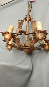 Vintage Tudor Spanish Revival 5 Light Fixture Metal With Canopy 19 X 18 Chain