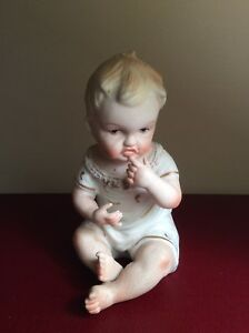 Antique Vtg German Bisque Porcelain Hand Painted Piano Baby Figurine Sculpture