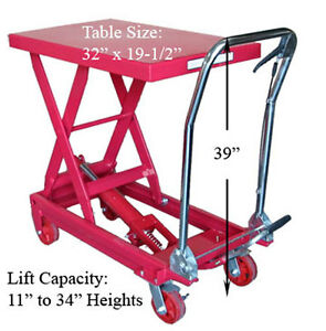 Heavy Duty Mobile 1000 Lbs Hydraulic Table Scissor Lift Jack Cart