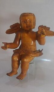 Angel Wood Hand Carved Statue Figurine Circa 1890 1930 Continential Europe