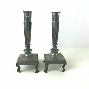 Pair Of 19th Century Or Earlier Pewter Candlesticks