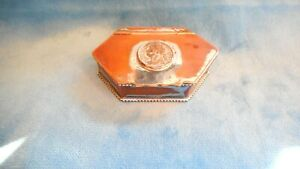 Early Antique English Silver Copper Snuff Box Set With 1822 Farthing S33912