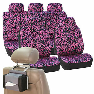 Car Seat Covers Purple Leopard Velour Withy Free Gift Tissue Dispenser