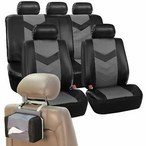 Pu Leather Car Seat Covers Sport Line Set Free Gift Tissue Dispenser