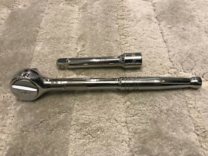 Husky 1 2 In Round Head Quick Release Ratchet 5 Extension Polished