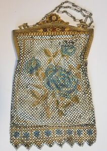 Great Art Deco Mesh Purse With Roses And Enamel Detail Signed Mandalian