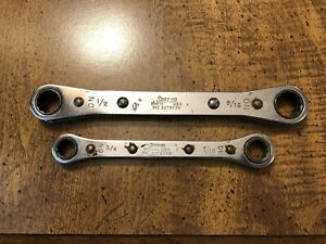 Snap On Tools Double Ratcheting Box Wrenches R1618 1 2 X 9 16 R1214a 3 8 X 7 16