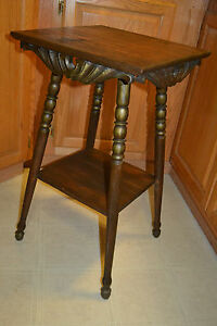 Antique Victorian Oak Wood Plant Stand Fern Table