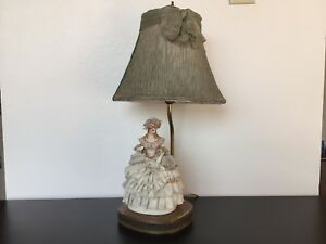 Rare Beautiful Antique Brass Lamp With Porcelain Woman Works