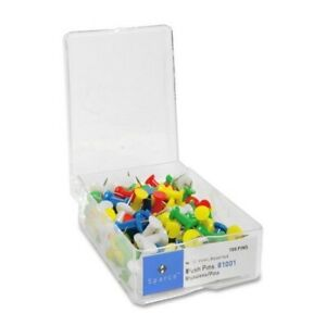 Sparco Products Push Pins 3 8 Point 1 2 Heads 100 bx Assorted Case Of 34