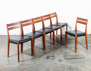 Mid Century Danish Modern Dining Chairs Set 6 Solid Teak Svegards Sweden Black M