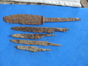 Scarce Lot 5 Ancient Roman Medieval Iron Knives