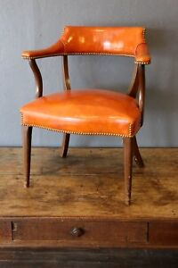 Vintage Library Lobby Chair Orange Law Office Waiting Room Studded Arm Chair