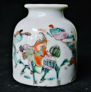 Antique Chinese Porcelain Famille Rose Brush Pot Washer Jianding Wax Seal