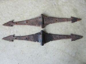 Antique Old Set Hand Forged Gate Barn Door Arrow Strap Hinges Vtg Rustic Patina