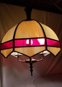 Mission Gwtw Hanging Slag Glass Lamp Shade Arts Crafts Nouveau Leaded Stained
