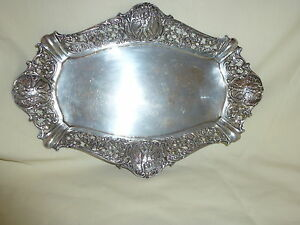 Vintage 800 Silver Repousse Reticulated Ornate Tray 249 Grams