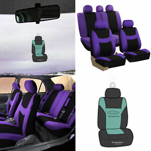 Purple Black Seat Covers Full Set For Auto W Steering Cover Belt Pads And More