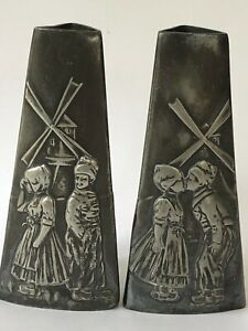 Antique Wmf Vase Pair Boy Girl Kissing Art Nouveau Jugendstil Windmills Metal