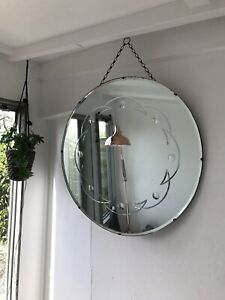 Round Frameless Mirror Etched Art Deco Frameless Bevelled Edge Wall Mirror