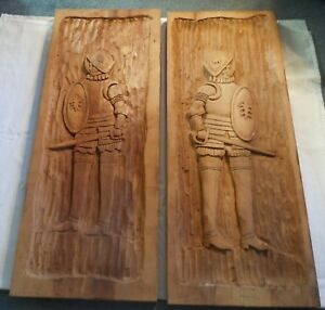 Vtg Matched Pair Knights In Armor Wood Hand Carved Wall Plaques Large 40 X15 5