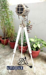 Handmade Chrome Floor Lamp With Wooden Tripod Stand Spotlight Home Decoration
