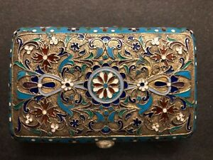 Antique Imperial Russian Enameled Gilded Silver Cigarette Case