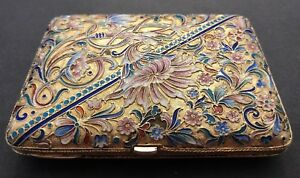 Antique Imperial Russian Enamel 84 Gilded Silver Cigarette Case Ivan Lebedkin