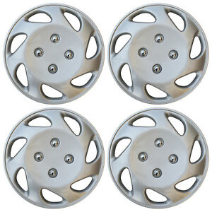 4 Pc Universal Hub Cap Abs Silver 14 Inch Rim Wheel Cover Caps Fits Honda Civic