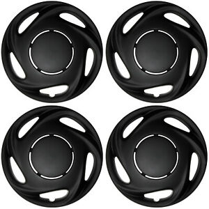 4 Piece Set Of 14 Matte Black Hub Caps Cover For Oem Steel Wheel Covers Cap
