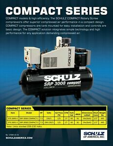 New 27 Cfm 7 5hp Schulz Rotary Screw Air Compressor 1ph 230 Volt Compact Series