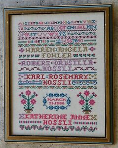 Antique 1886 Cross Stitch Sampler Family Names Numbers Letters Flowers