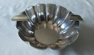 Vintage Mexican 925 Sterling Silver Dual Ashtray Scalloped With Ridges Maciel