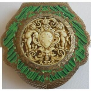 Antique Italian Silver Green Enamel Compact With An Amazing Putti Plaque