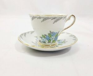 Salisbury Crown White And Blue Floral Bone China Teacup And Saucer England 1136