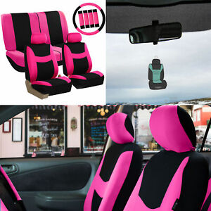 Pink Black Seat Covers For Auto W Steering Cover Belt Pads Air Freshener