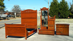 Victorian Walnut Bedroom Set Full Bed Washstand Dresser With Dressing Mirror