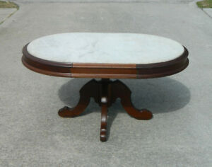 Oval Walnut Victorian Marble Top Coffee Cocktail Table